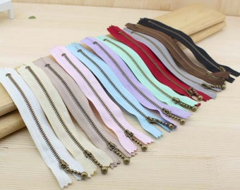 15cm / 6 inch Handmade DIY Sewing  Brass Metal Zipper  with Drop Style Zipper Pull for Bag Purse, 11Color Choice, 5 PCS, Z024