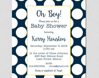 Baby Shower Boy Invitation, Navy and yellow polka dots invite