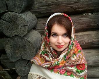 Russian shawl Pavlovo Posad 100% original russian scarf Folk Style