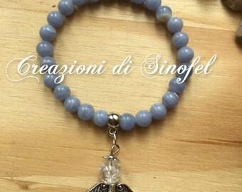 Chalcedony, bracelet with Angel