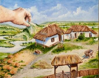 "Art Collectibles Painting Oil Handmade Canvas Ukraine Landscape ""Near horizon"""