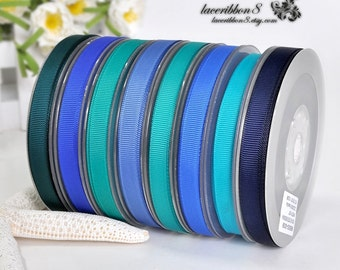 "100 Yards - 3/8"" Grosgrain Ribbons, Blue Grosgrain Ribbons, Double Faces, Ribbon Supplier Wholesales"