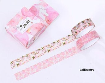 Pink Flower Petals Japanese Washi Tape, Masking Tape, Decorative Tape, Adhesive, Planner Stickers - WT002