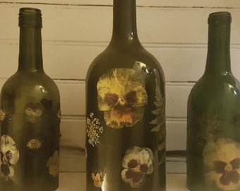 Homemade Wine Bottle Tealight Covers Made with Real Pressed Flowers