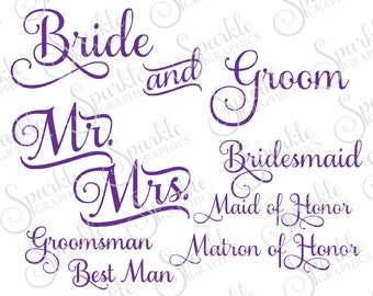 Bride Groom Cut File Wedding Party Bridesmaid Maid of Honor Matron Clipart Svg Dxf Eps Png Silhouette Cricut Cut File Commercial Use