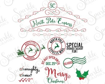 Santa Sack Cut File Set Overnight Christmas SVG Santa SVG Elf SVG Santa Sack Svg Dxf Eps Png Silhouette Cricut Cut File Commercial Use