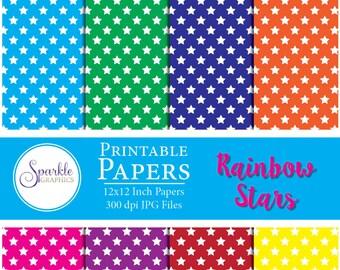 Stars Digital Paper, Rainbow Stars Paper, Digital Scrapbook Paper, Printable Scrapbook Paper, Colorful Scrapbook Paper, Commercial Use