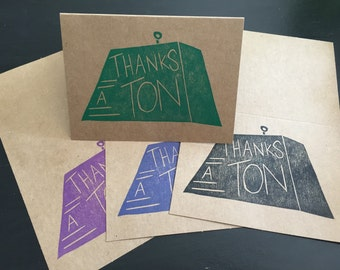 "Greeting Card - ""Thanks a Ton"""