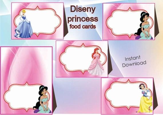 Disney princess Food Labels, Food Tents Cards Tags,Disney princess ...
