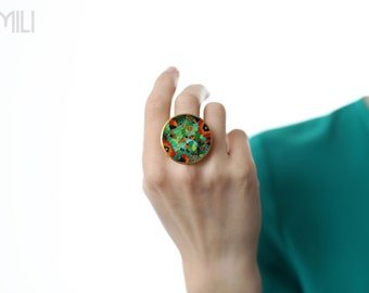 Round Ring with Poppies with Cloisonné Enamel in Gold Plated Silver / Inspired by Nature / Wearable Art / Customize Painting