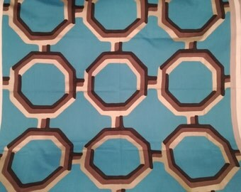 Designers Guild Fabric Geometric Octagon print Upholstery Cotton LEOPOLD Marine