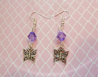Pair of butterfly earrings for violet
