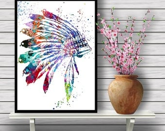 Native American Headdress, Indian Chief accessory,watercolor poster, feathers, tribe, art watercolor, home decor, gift Instant Download