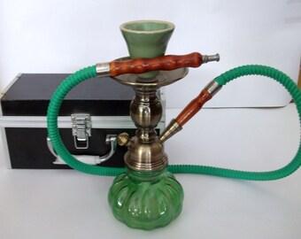 Green hookah, glass bottom hookah, water pipe, shisha, sheesha pipe, Nargila,  chillum, nargeela, chillim, handmade water pipe, green