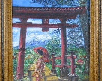 Oil Painting of a Woman In Front of Mount Fuji by AP Levy