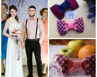 Bow ties with embroidery