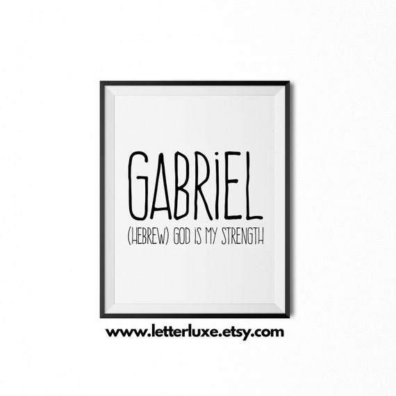 Gabriel printable kids gift name meaning art baby shower gabriel printable kids gift name meaning art baby shower gift nursery art digital print nursery decor typography wall decor negle Gallery