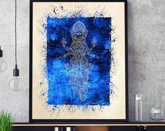 Kali Painting, Kali Wall Art, Kali Print, Yoga Decor, Spiritual India Print, Indian Goddess Home Decor, Watercolor Kali (N541)