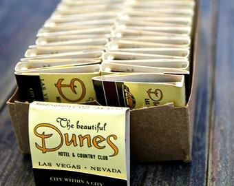 Box of 50 Vintage Dunes Casino Matcbooks/Matches from Las Vegas Nevada Dunes Hotel & Country Club/NOS/Matchbook Never Used NOS
