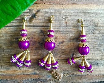 Gold and purple round charms, beads, jewelry making supplies, bulk jewelry supplies, metal charms, wholesale metal charms, metal beads