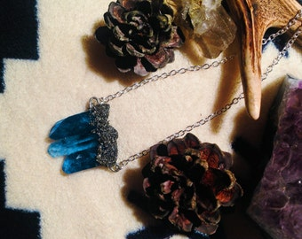 Blue Quartz w/ Pyrite Dusting Necklace
