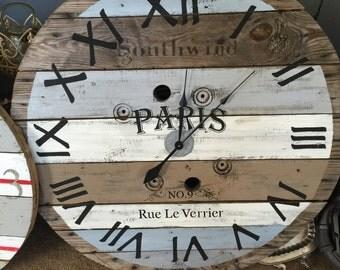 "40"" giant wood spool reel clock farmhouse"