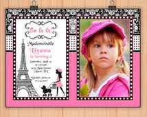 Paris Eiffel Tower Birthday PARTY Photo Invitation, digital Photo invitation Pink Poodle in Paris, invitation for girls PARIS party N4