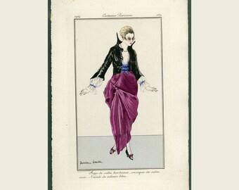 1914 Antique Pochoir Fashion Print - Journal Des Dames et des Modes - Costume Parisien, Ladies Evening Wear, Jupe des Satin Bordeaux