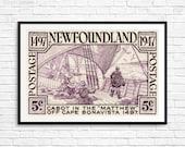 Newfoundland, Newfoundland Postage, Nfld Canada, Cabot, Cape Bonavista, 1400s, Sailing ships, Wooden ships, Fishing boats, Canadian Art
