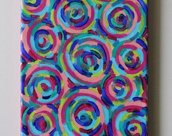 Circles Art, Geometric Art, Psychedelic Art, Rainbow Painting, Colorful Art, Acrylic Painting, Abstract Art, Abstract Painting, 8x10 Canvas