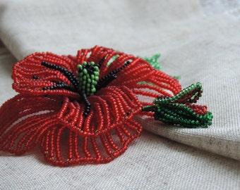 Brochet Bead Poppy Handmade