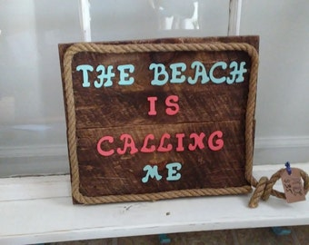 Handmade One of a Kind Reclaimed Wood Wall Sign - The Beach