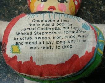 Vintage 1950's Cinderella Rag Doll w/Flip Faces & Text