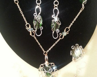 Gold and Silver with faceted glass beads necklace and earing