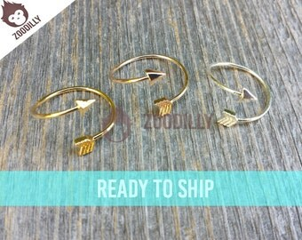 Rose Gold Arrow Ring, Adjustable Ring Size, Rose Gold Boho Arrow Ring, Rose Gold Arrow Ring, Double Wrap Adjustable Arrow Ring, Zoodilly