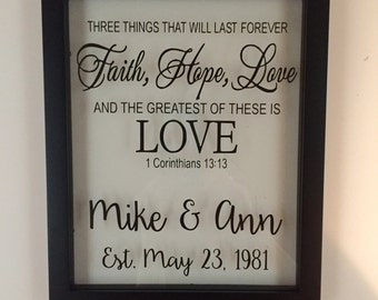 Personalized Picture Frame, Wedding Gift for Couple, Wedding, Faith Hope Love, Established Sign, 1 corinthians 13, Wedding Gift Ideas,