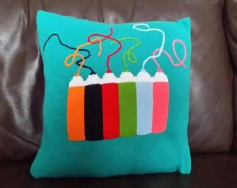 Handmade knitted cushion cover with pencil detailing - comes complete with infill