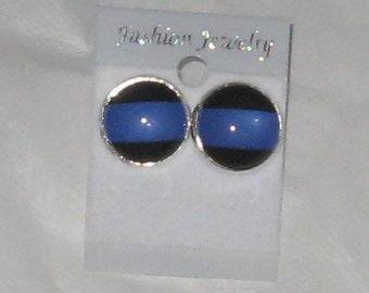 Thin Blue Line Earrings