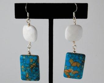 Howlite Mosaic & White Jade Earrings