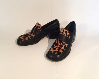 90s Leopard Pony Hair Loafers