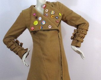 Camel coat with Badges