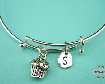 Cupcake Bangle, Cupcake Bracelet, Cupcake, Bracelet, Bangle, Silver Plated Bangle, Charm Bracelet, Initial Charm, Personalized, Custom, Gift