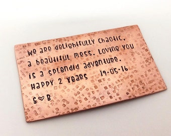 Copper Wallet Insert - Engraved - Hand Stamped - Personalised Custom Made Anniversary Gift