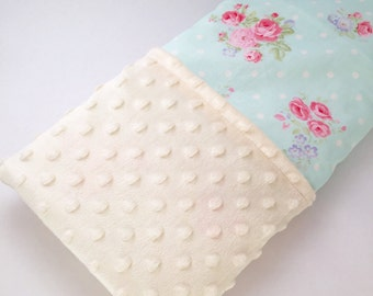 Blue and Pink Flower Minky Baby & Toddler Blanket