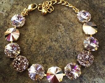 ROYAL ROSE GOLD 12mm Swarovski crystal bracelet - gold setting with vintage rose and rose gold crystals and rose gold druzy