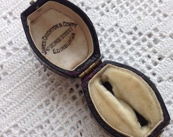 Antique Victorian Ring Box Vintage Jewellery Jewelry Presentation Case Edinburgh Lozenge Shape