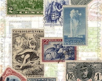 Vintage postage stamps digital download LandOfNodStudios Digital 50 world stamps
