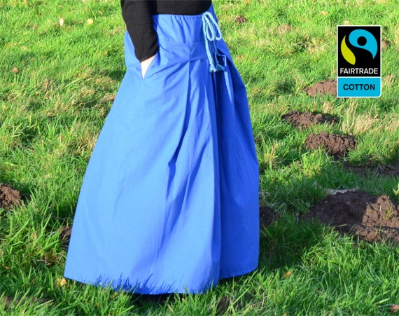 Fairtrade pants - hakama pants harem pants blue, fair vegan organic
