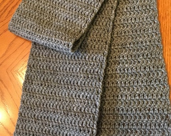 Heather Gray Scarf in Double-Crochet - Ready to Ship!