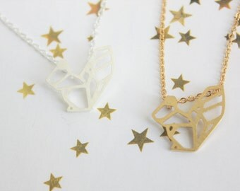 Origami squirrel necklace ⋆ gold ⋆ silver